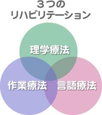 3つのリハビリテーション「理学療法」「作業療法」「言語療法」
